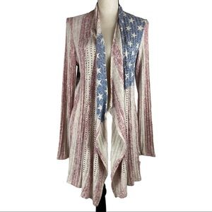 Vocal Studded Open Cardigan Waterfall Flag Pattern
